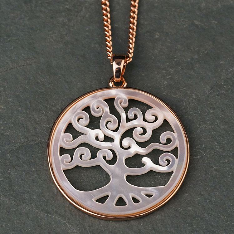 equilibrium rose gold plated mother of pearl tree necklace