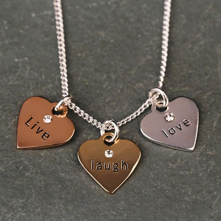 equilibrium 3 tone hearts live laugh love necklace