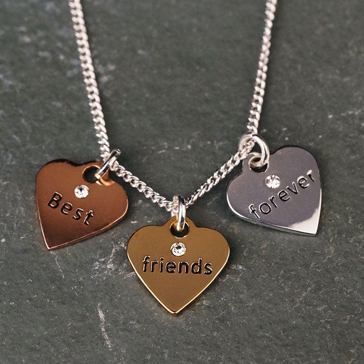 equilibrium 3 tone hearts friends necklace
