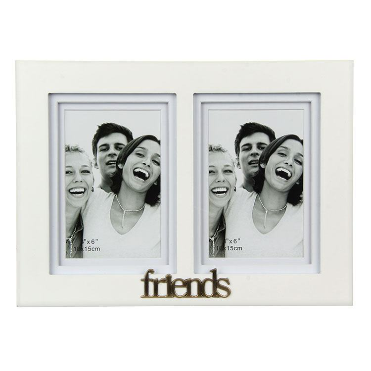 Gallery White Friends Double Photo Frame