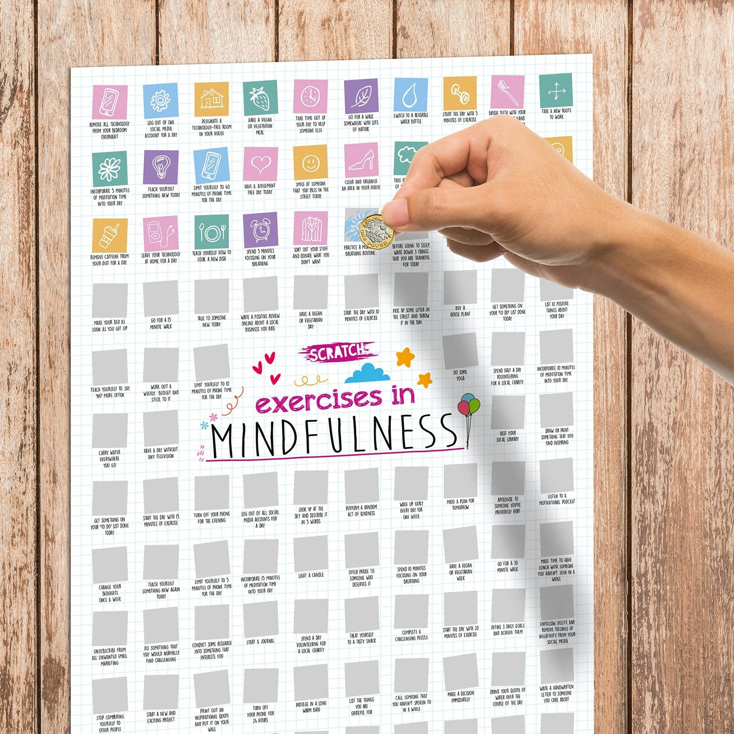 100 Exercises in Mindfulness A2 Scratch Poster