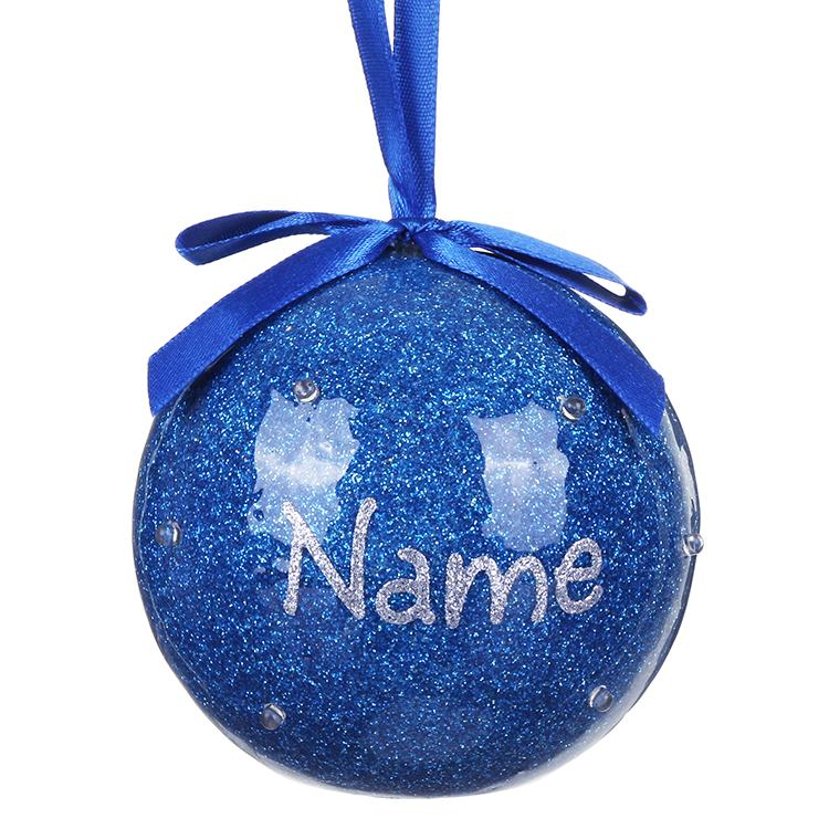 Personalised Your Name in Lights Blue LED Christmas Bauble