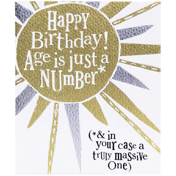 The Bright Side Age Is Just A Number Birthday Card