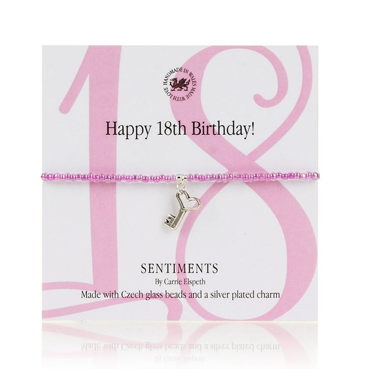 Carrie Elspeth Happy 18th Birthday! Sentiments Bracelet