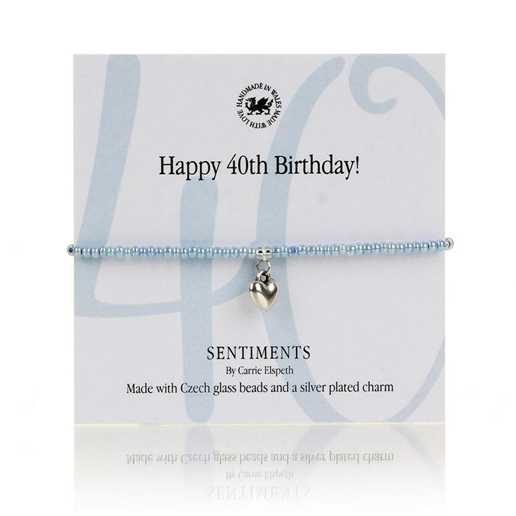 Carrie Elspeth Happy 40th Birthday! Sentiments Bracelet