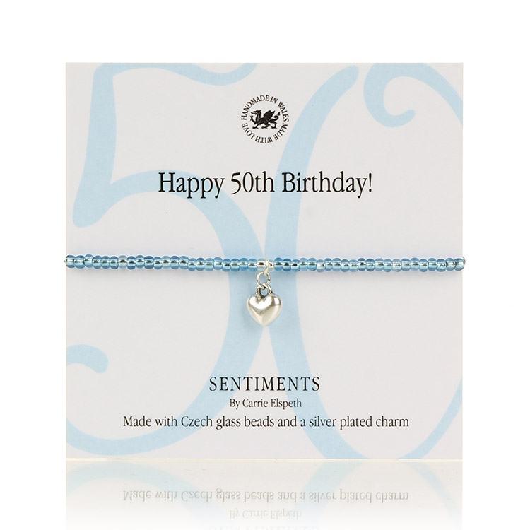 Carrie Elspeth Happy 50th Birthday! Sentiments Bracelet