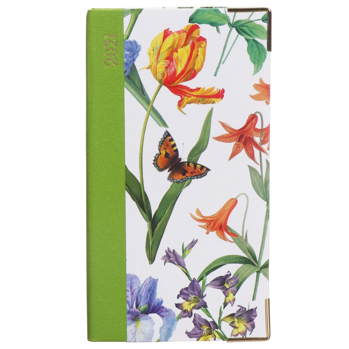 Caspari White Redoute Floral 2021 Slim Diary