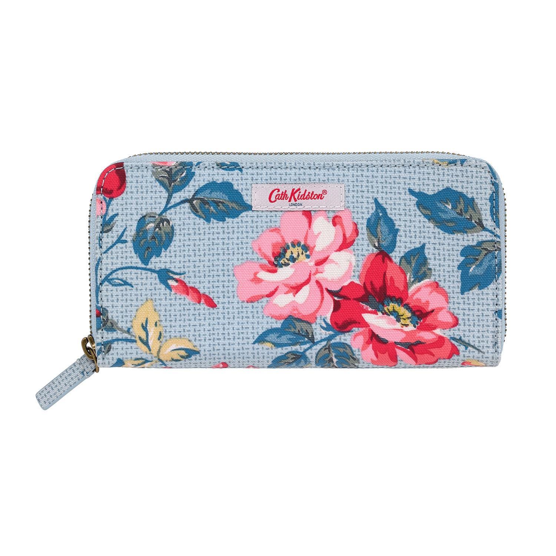 Cath Kidston Blue Pembroke Rose Continental Zip Wallet