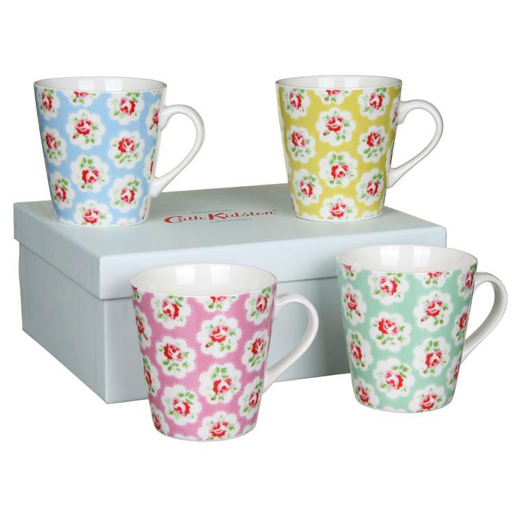 Cath Kidston Provence Rose Four Boxed Mini Stanley Shape Mugs