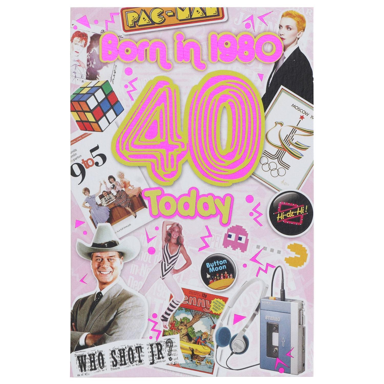 Down Memory Lane Pink '40 Today' Card