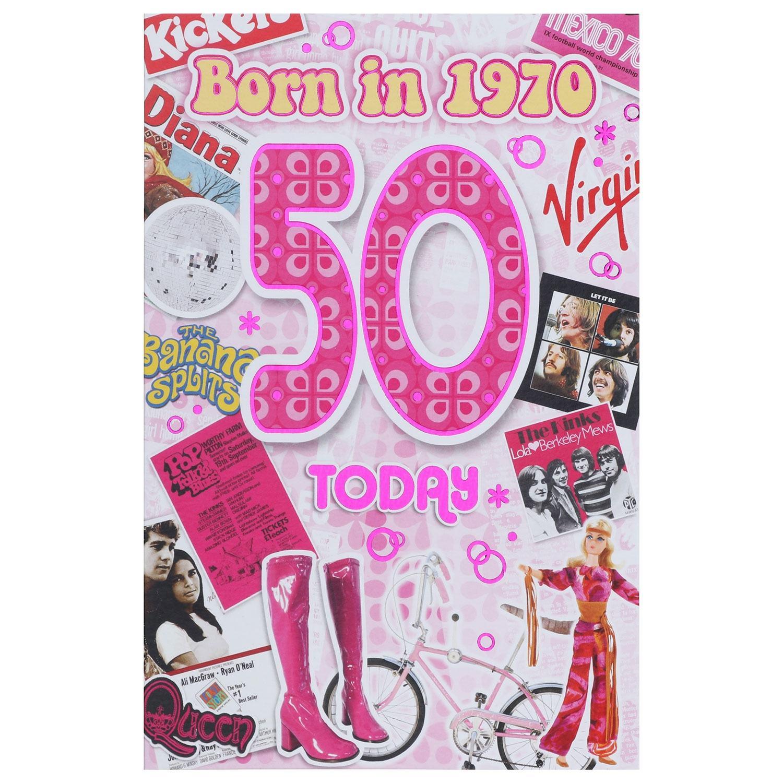 Down Memory Lane Pink '50 Today' Card
