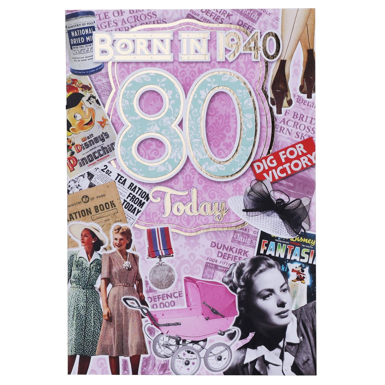 Down Memory Lane Pink '80 Today' Card