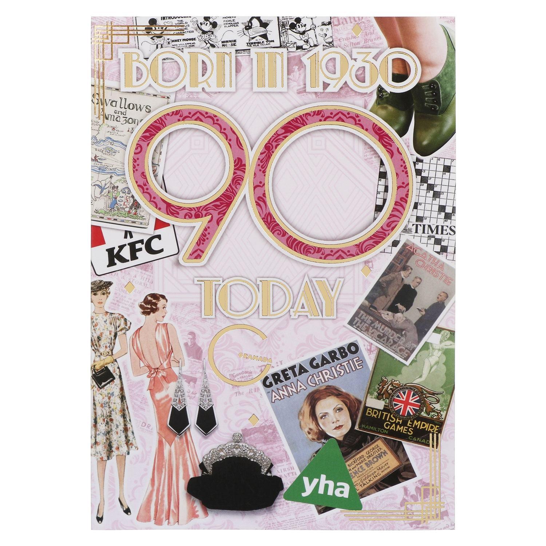 Down Memory Lane Pink '90 Today' Card