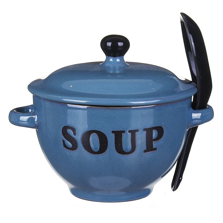 Country Blue Soup Bowl With Lid & Spoon