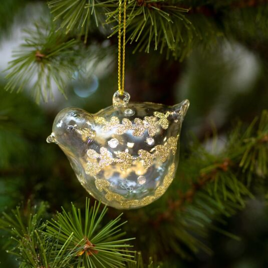Assorted Clear Glass Bird Tree Decorations