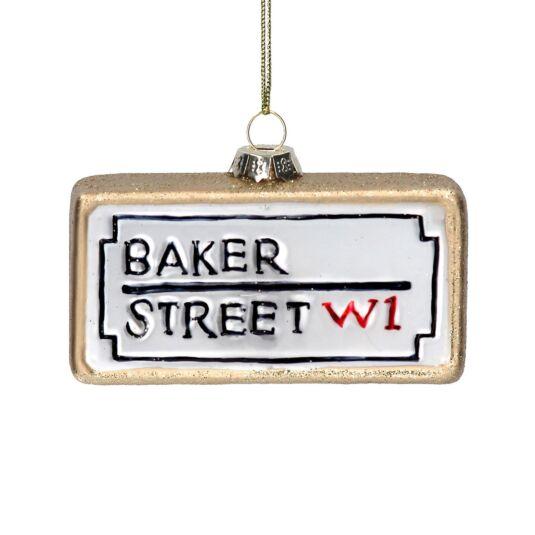 London 'Baker Street' Sign Glass Tree Decoration