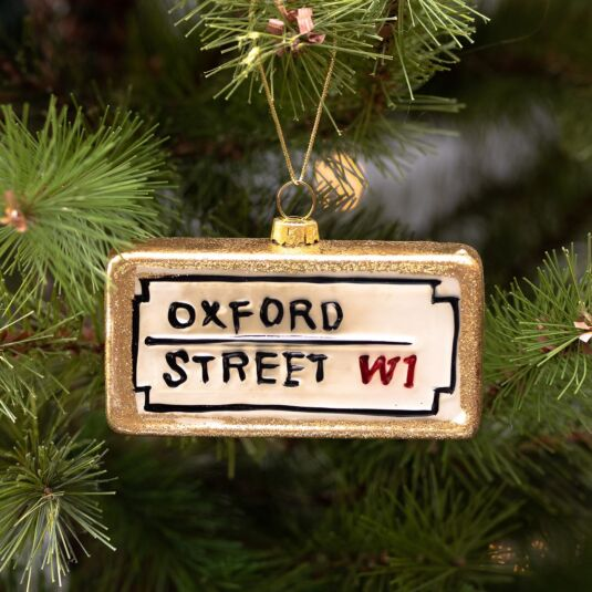 London 'Oxford Street' Sign Glass Tree Decoration
