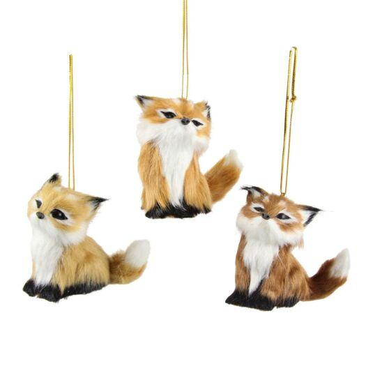 Assorted Fox Soft Fur Tree Decorations