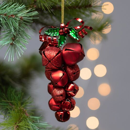 Red Metal Jingle Bell Cluster Tree Decoration