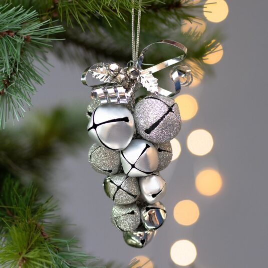 Silver Metal Jingle Bell Cluster Tree Decoration