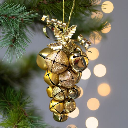 Gold Metal Jingle Bell Cluster Tree Decoration