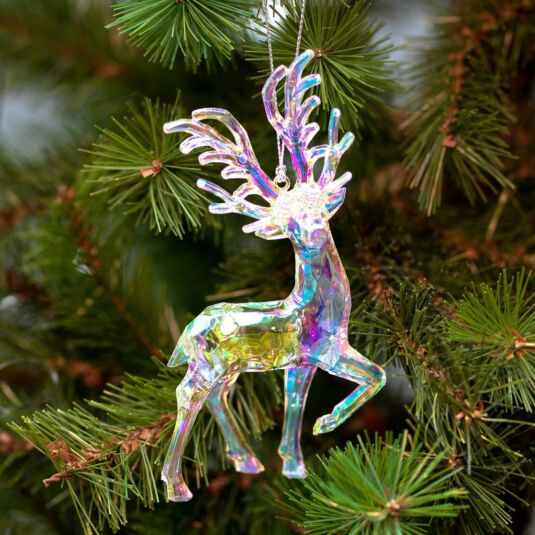 Assorted Clear Iridescent Deer Tree Decoration