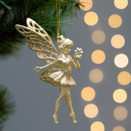 Assorted Acrylic Gold Glitter Fairy Tree Decoration