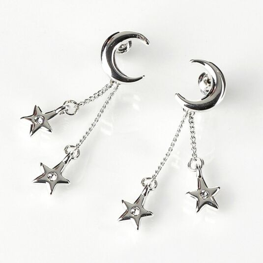 Silver Plated Celestial Half Moon Earrings