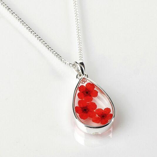 Red Eternal Flowers Small Teardrop Necklace