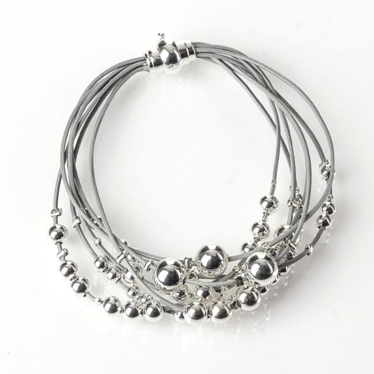 Grey Leather Strings with Silver Plated Balls Bracelet