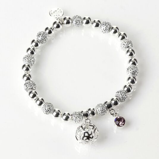 Silver Plated Woven Ball Bracelet with Pink Gem