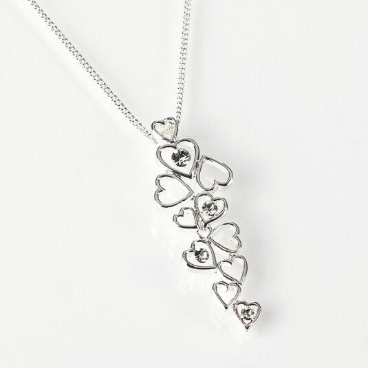 Silver Plated Cascading Hearts Necklace