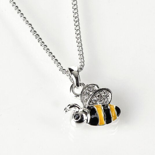 Silver Plated Flying Bumble Bee Necklace