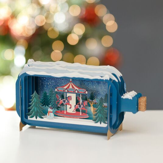 Merry Go Round Message in a Bottle Christmas Card