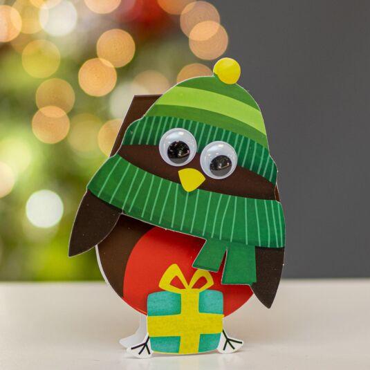 Wobbly Head Robin Christmas Card