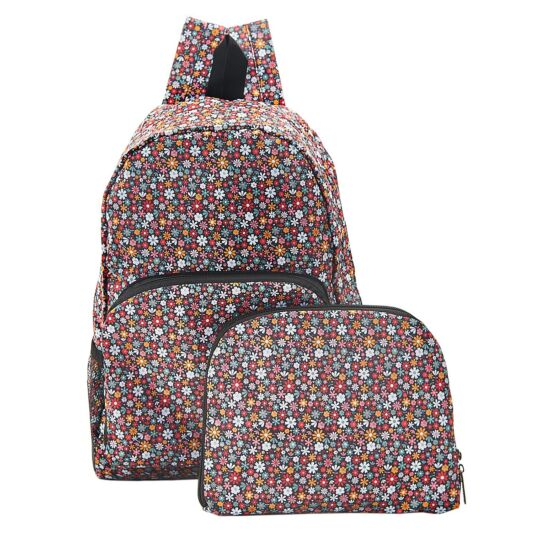 Black Ditsy Flowers Foldaway Backpack