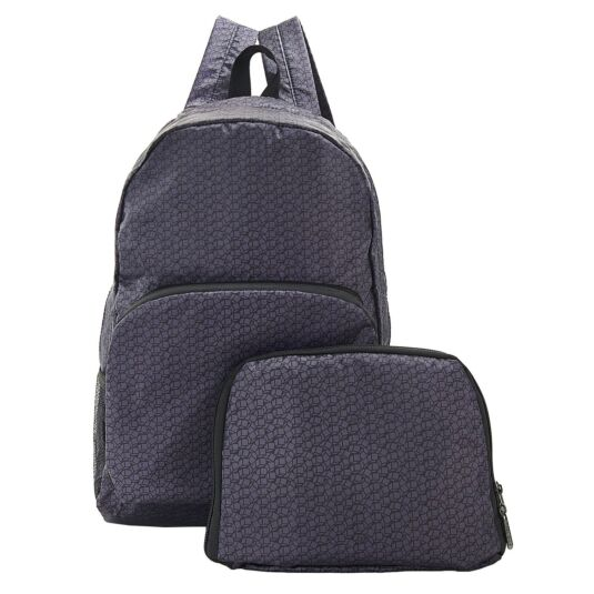Black Disrupted Cubes Foldaway Backpack