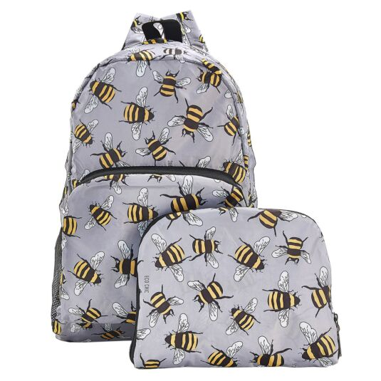 Grey Bumblebees Foldaway Backpack