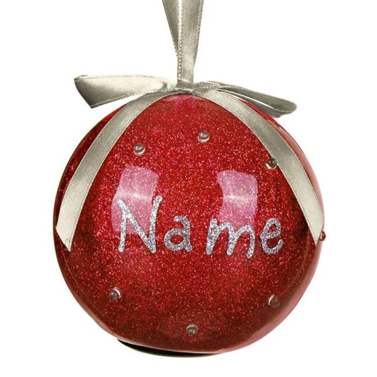 Personalised 'Your Name in Lights' Santa Red LED Christmas Bauble