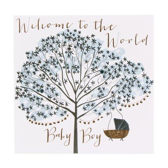 Baby Boy Blue Tree Card