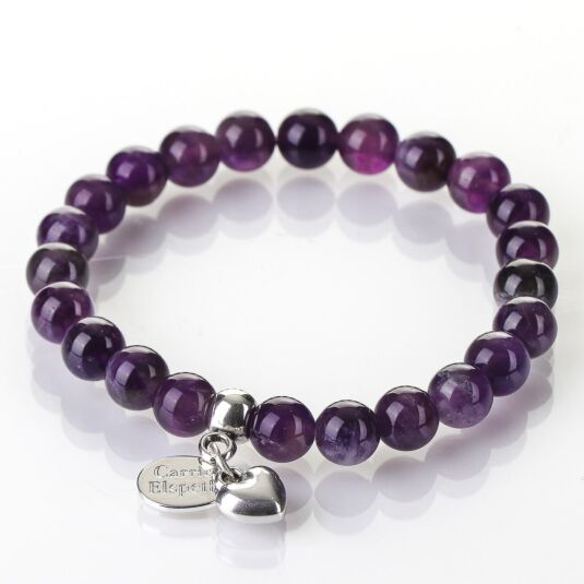 Amethyst Gemstone Heart Bracelet