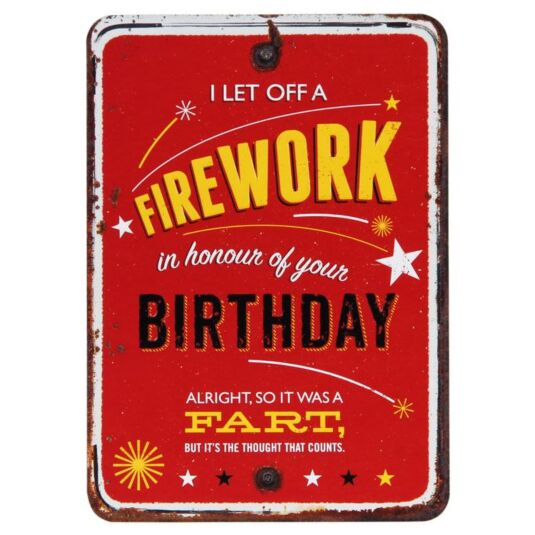 Grin and Tonic Firework Fart Birthday Card