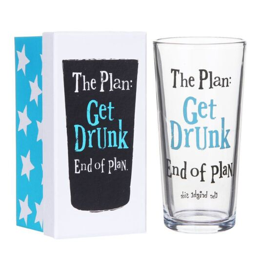 Boxed Get Drunk Beer Glass