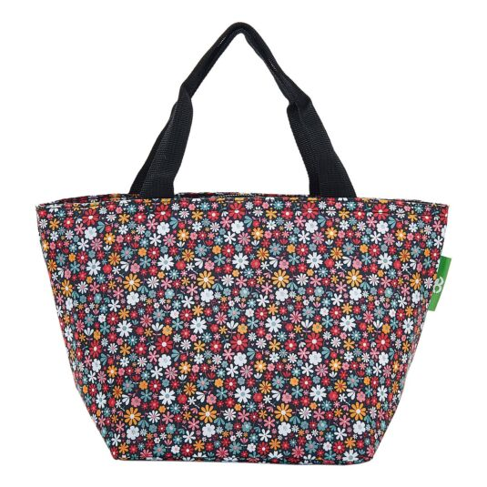 Black Ditsy Flowers Insulated Lunch Bag