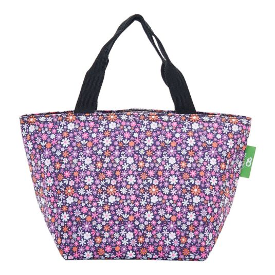 Purple Ditsy Flowers Insulated Lunch Bag