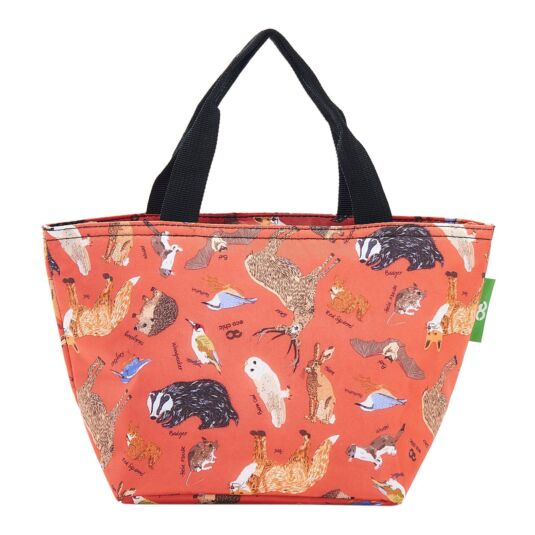 Red Woodland Animals Insulated Lunch Bag