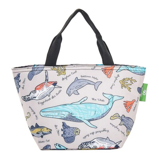 Grey Sea Creatures Insulated Lunch Bag