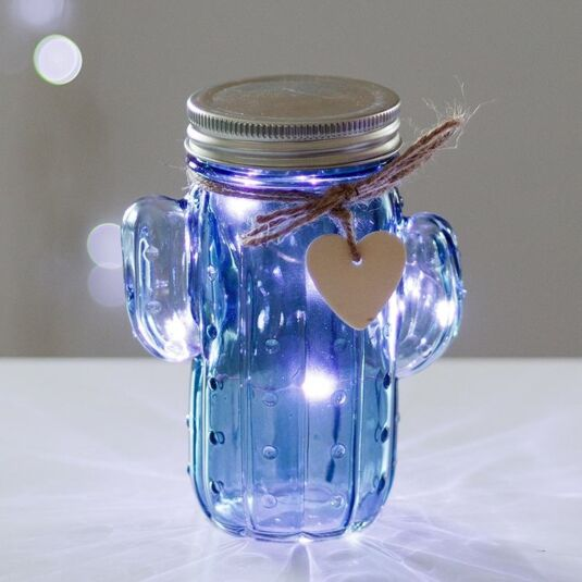 Blue LED Firefly Cactus Jar