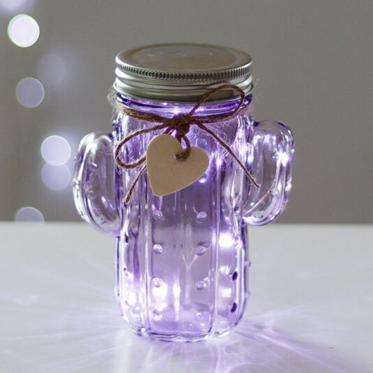 Purple LED Firefly Cactus Jar