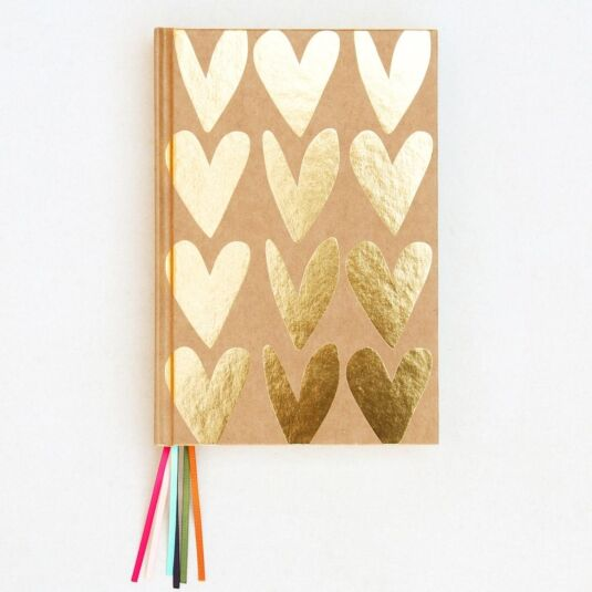 Gold Hearts Notebook with Ribbon Markers